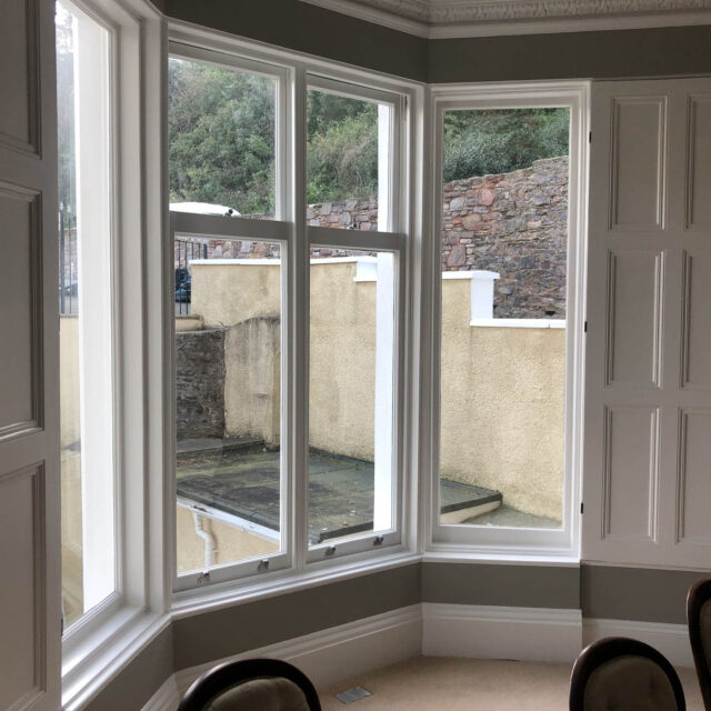 Picture of bay windows from the inside